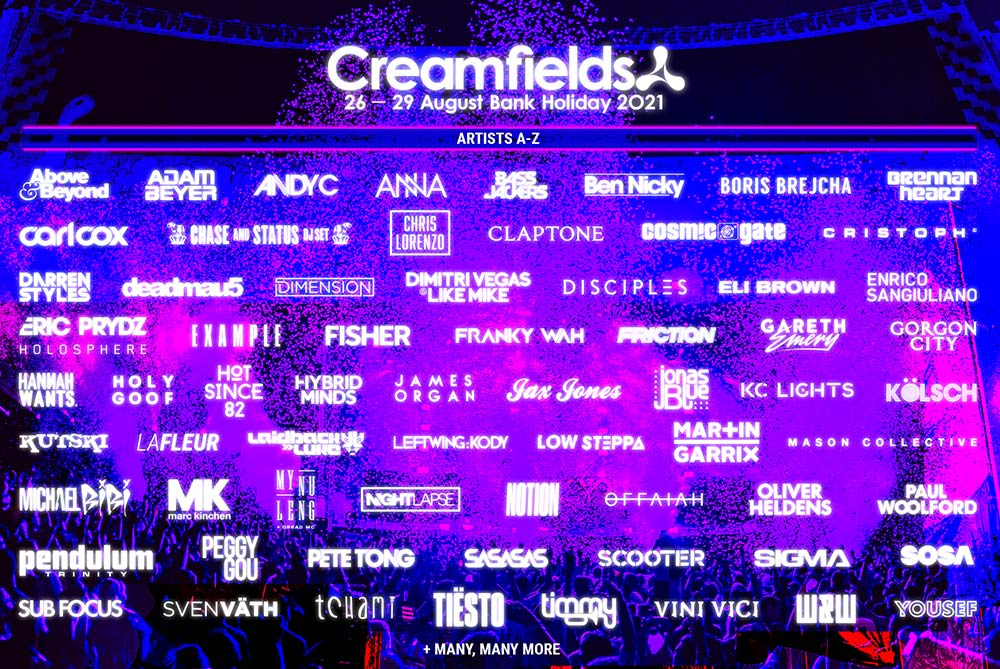 Creamfields Line-up Poster 2021