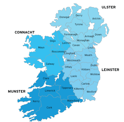 Map of ticketcentres in Ireland