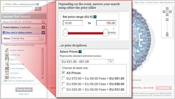 Depending on the event, narrow your search using either the price slider