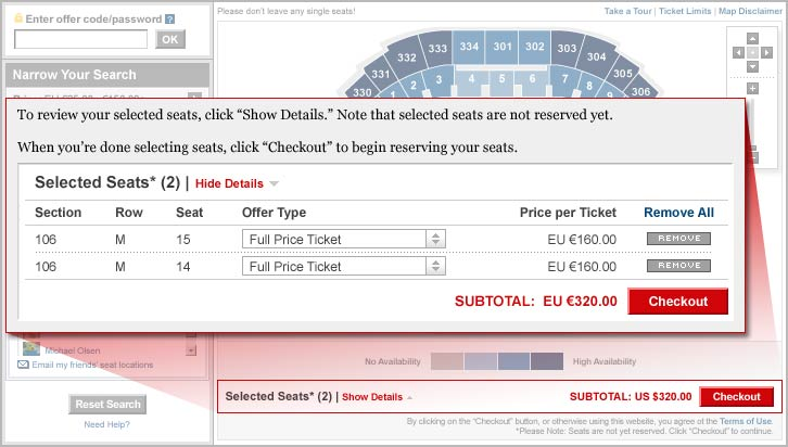 To review your selected seats, click Show Details. Note that selected seats are not reserved yet. When you are done selecting seats, click Checkout to begin reserving your seats.