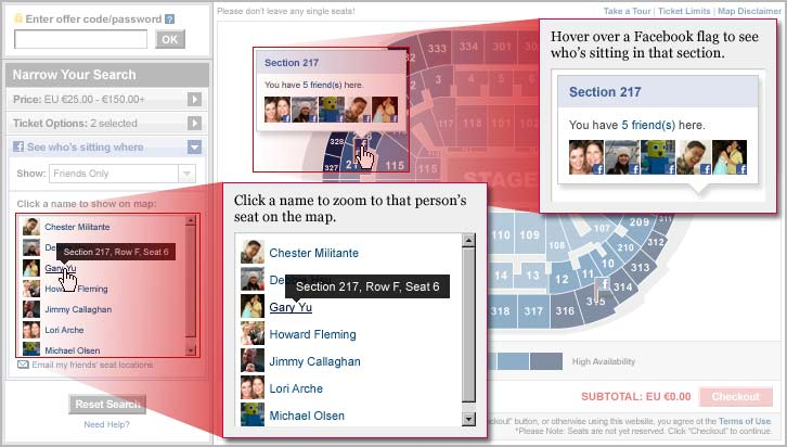 Click a name to zoom to that person's seat on the map. Hover over a Facebook flag to see who's sitting in that section.