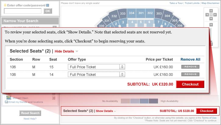 Ticketmaster co uk - Interactive Seating Map - Take a Tour