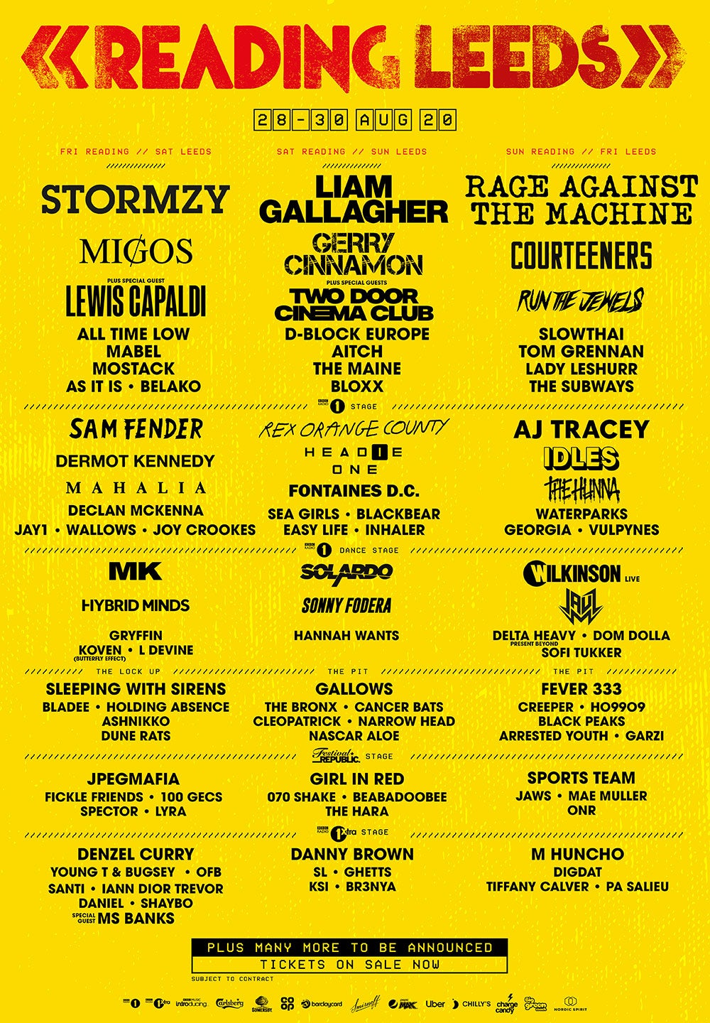 Reading and Leeds Line-up Poster 2020