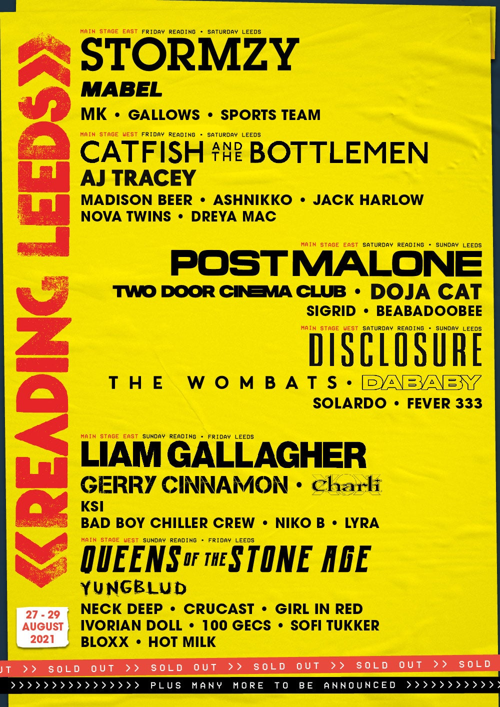 Reading and Leeds Line-up Poster 2021