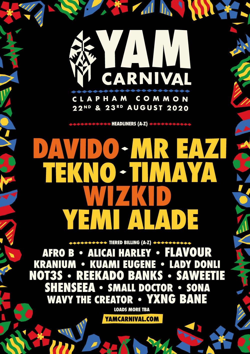 Yam Carnival London Festival Line-up Poster 2020