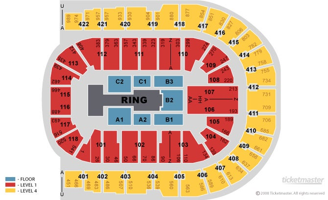 Wwe raw 02 arena 18th april ebay for 02 arena floor seating plan